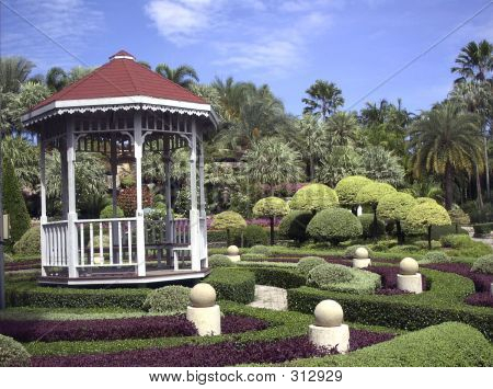 Gazebo In Tropical Garden