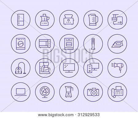 Household Appliances, Electronics Store Line Icon. Vector Illustration Flat Style. Included Icons As