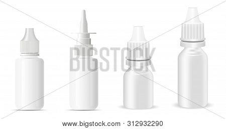 Nasal Spray. Nose Decongestant Bottle. Flu Remedy. Plastic Medical Container Template. 3d Vector Noz
