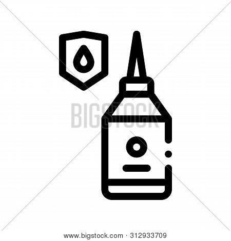Waterproof Material Glue Vector Thin Line Icon. Waterproof Material Mastic Bottle Container, Industrial Use Linear Pictogram. Clothes, Moisture Absorbing Substance Contour Illustration poster