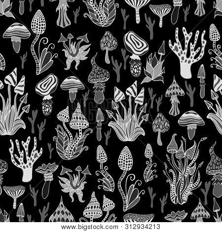 Monokchrome Psychedelic Abstract Fantasy Mushrooms Seamless Pattern. Each Mushroom Has Its Own Patte