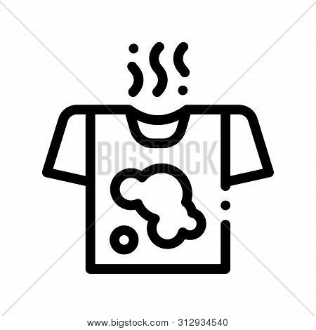Laundry Service Dirty T-shirt Vector Line Icon. Stink Wear Laundry Service, Washing Clothes Dress Li
