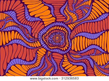 Psychedelic Colorful Surreal Doodle Pattern. Decorative Fantasy Abstract Pattern, Maze Of Ornaments.
