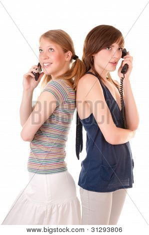 Two friends communicate by phones