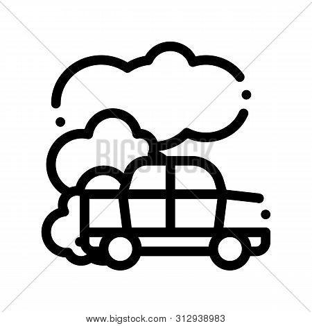 Car Co2 Carbonic Oxide Air Thin Line Icon. Car Exhaust Gaz Dirty Air Environmental Pollution Defilem