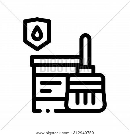 Waterproof Material Paint Thin Line Icon. Waterproof Material Pail Bucket Dye And Brush Tessel, Industrial Use Linear Pictogram. Clothes, Moisture Absorbing Substance Contour Illustration poster