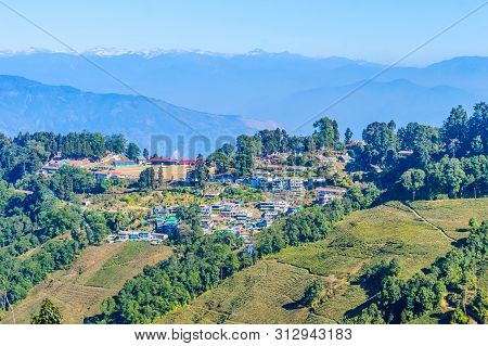Panoramic View Of Darjeeling Village At The Lift With Traditional Buddhist Tibetan Style Architectur