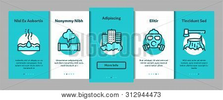 Pollution of Nature Onboarding Mobile App Page Screen. Environmental Pollution, Chemical, Radiological Contamination Linear Pictograms. Gas, CO2 Emissions, Dirty Soil, Water, Air Illustration poster