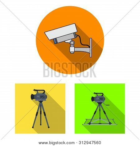 Isolated Object Of Camcorder And Camera Icon. Collection Of Camcorder And Dashboard Stock Symbol For