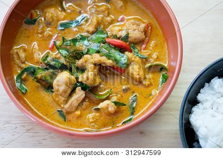 Delicious Thai Panang Curry On Wood Table