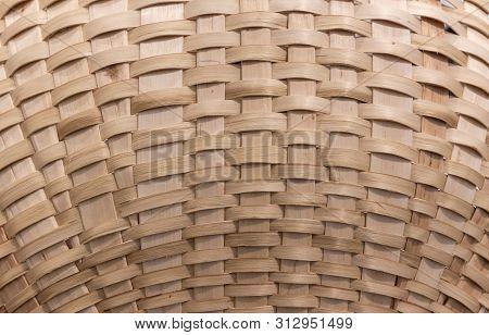 Wickerwork Texture Background. Antique Wickerwork Pattern Used For Baskets. Close Up