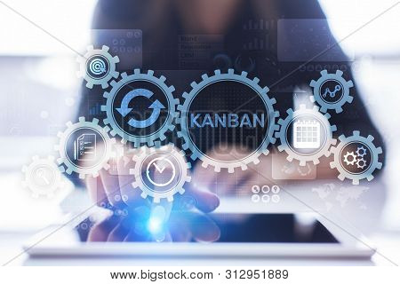 Kanban Work Flow Process Management System Concept On Virtual Screen.