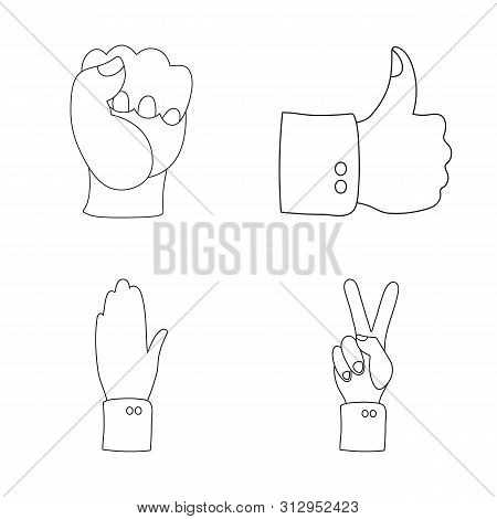 Bitmap Design Of Animated And Thumb Icon. Set Of Animated And Gesture Bitmap Icon For Stock.