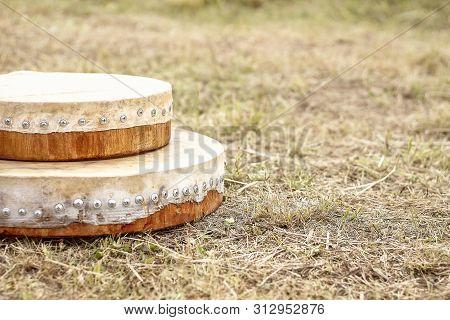 Shamanic Tambourine. Shamanic Drum. Shaman Tambourine Lies On The Grass