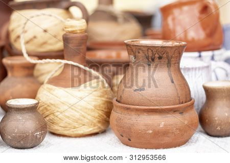 Pottery. Pottery Market In Village Oposhnya, Center Of Pottery Production. Different Pottery Product
