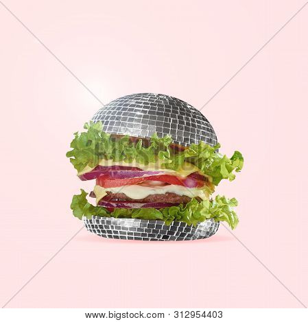 Food As Fast As A Disco Dance. A Burger As An Discoball With Salad, Potato And Meat. Negative Space