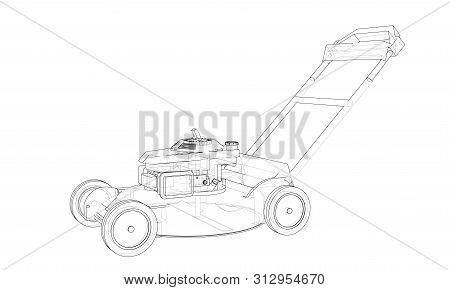Outline Lawn Mower Vector. Wire-frame Style. The Layers Of Visible And Invisible Lines. 3d Illustrat