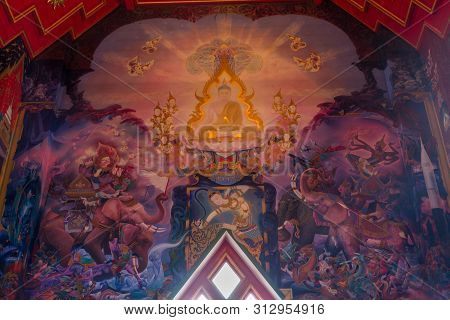 London Uk - May 10, 2019 - Within The Temple Of The Buddhapadipa Temple, Thai Art Mural (wall Painti