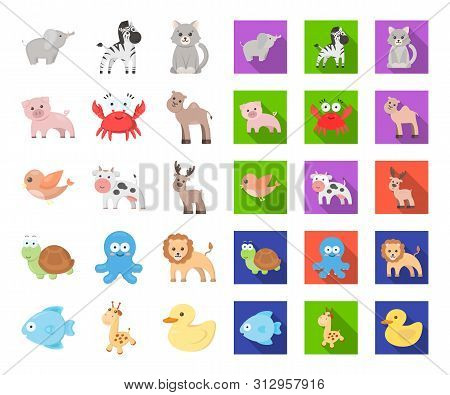 An Unrealistic Cartoon, Flat Animal Icons In Set Collection For Design. Toy Animals Bitmap Symbol St