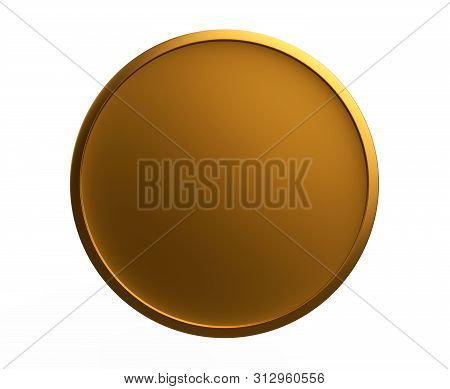 Template Of Round Metal Coin Or Button With Gold Texture Isolated On White Background. Metallic Text