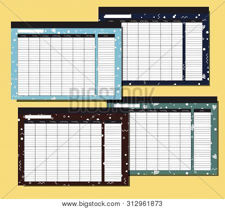 Set Of Endless Glider With Geometric Pattern. Desk Calendar Template. Seven Columns And A Recording