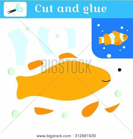 Cut Out And Glue. Paper Stitches Game For Preschoolers. Puzzle - Applique. Handmade To Create A Fish