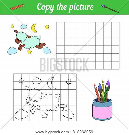 Coloring Book Copy On The Grid. With A Sample Blue Sheep Flying Through The Night Sky Among The Clou