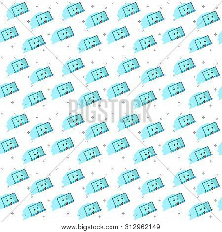 Seamless Pattern On White Background. Broken Laptop. Breakdown Funny Cartoon Computer Character With