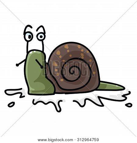 Cute Garden Snail Character Cartoon Vector Illustration Motif Set. Hand Drawn Isolated Yard Wildlife