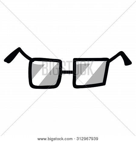 Cute Simple Glasses Cartoon Vector Illustration Motif Set. Hand Drawn Isolated Sight Accessory Eleme