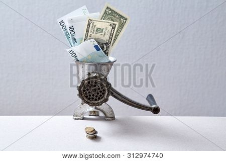 Downturn And Bank Or Financial Crisis. Inflation And Depreciation Money Concept. Grinder Grinding Ba