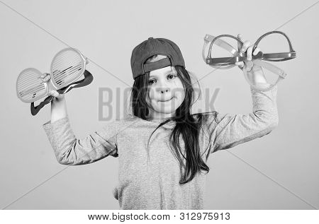 Keep Celebrating. Fashionable Party Girl. Adorable Party Girl Holding Fancy Glasses. Cute Small Chil