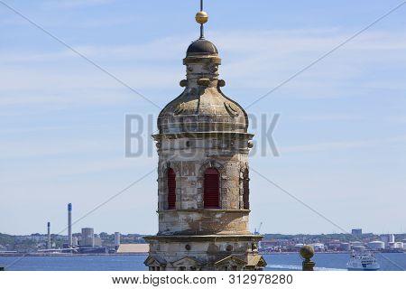 Helsingor, Denmark - July 23, 2019: Medieval Kronborg Castle On The Oresund Strait, View On Towers A