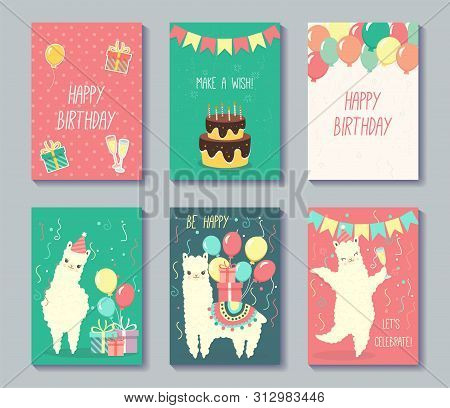 Set Of Happy Birthday Cards Design. Greeting Cards With Cute Llamas. Vector Illustration.
