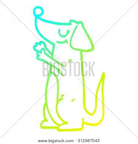 cold gradient line drawing of a cartoon well behaved dog poster