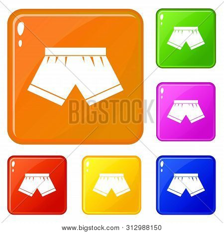 Male Underwear Icons Set Collection Vector 6 Color Isolated On White Background