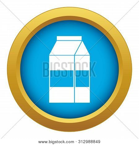 Box Of Milk Icon Blue Vector Isolated On White Background For Any Design