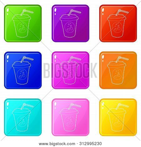 Plastic Cup Of Limonade Icons Set 9 Color Collection Isolated On White For Any Design