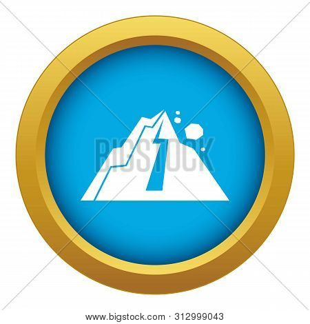 Rockfall Icon Blue Vector Isolated On White Background For Any Design
