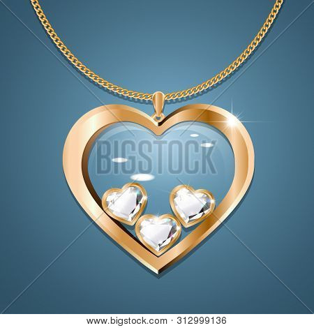 Necklace With Heart Pendant On A Gold Chain. With Three Heart-shaped Diamonds In Gold. Decoration Fo