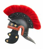 Simulation of a Roman centurion helmet on white background poster