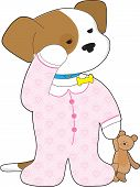 A cute sleepy puppy still wearing its collar is ready for bedtime dressed in pajamas and with a teddy bear in hand. poster