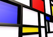 Abstract background with modernist wall or shelves. 3D illustration poster