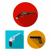 Isolated object of revolver and pistol logo. Set of revolver and trigger stock bitmap illustration. poster