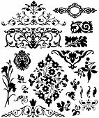 set of isolated floral and pattern design elements poster