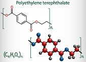 Polyethylene terephthalate or PET, PETE polyester, thermoplastic polymer molecule. Structural chemical formula and molecule model poster