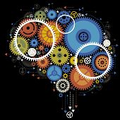 Colorful gears forming a human brain. the concept of brain work poster