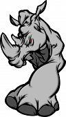 Vector Image of Grey Rhinoceros Walking Mascot Image poster