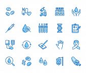 Hematology flat line icons set. Blood cell, vessel, sphygmomanometer, dna test, biochemical microscope vector illustrations. Outline signs for donor day. Pixel perfect 64x64. Editable Strokes poster