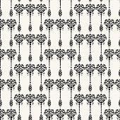 Art Nouveau ornamental motif Jugendstil style. Vector seamless pattern. Retro arabesque damask textiles swatch. Decorative arts crafts folk art home decor. Modernist trendy monochrome all over print. poster